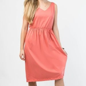 Organic Cotton Cinch Waist A Line Dress in Coral
